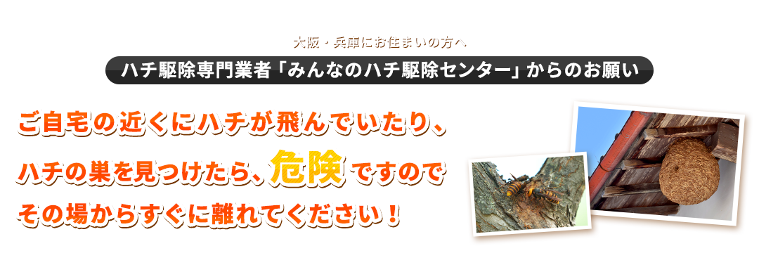大阪・兵庫にお住まいの方へ(ハチ駆除専門業者「みんなのハチ駆除センター」からのお願い)ご自宅の近くにハチが飛んでいたり、ハチの巣を見つけたら、危険ですのでその場からすぐに離れてください!